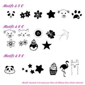 dessins de motifs pour tampon et coffret prénom sur mesure