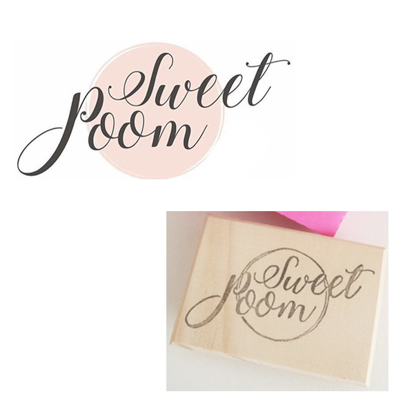 tampon logo gravé main pour Sweet Poom