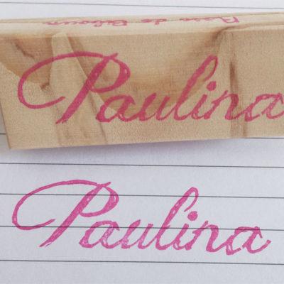 Tampon prénom Paulina gravé main, écriture manuscrite chic