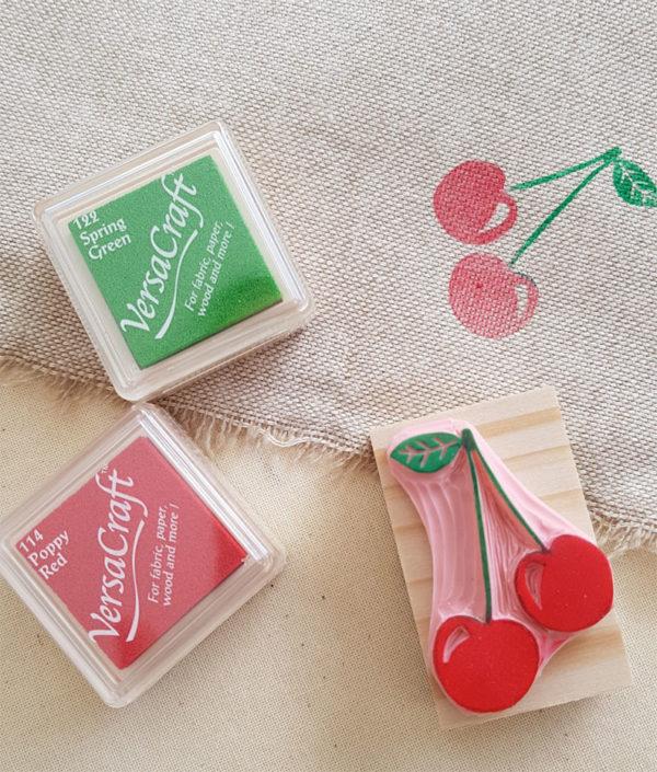 Tampon cerises gravé main pour impression textile