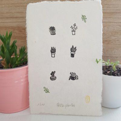 Petite impression sur papier fait main motif plantes