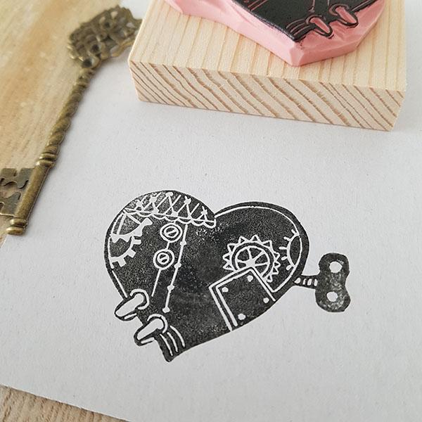 Print impression tampon coeur steampunk