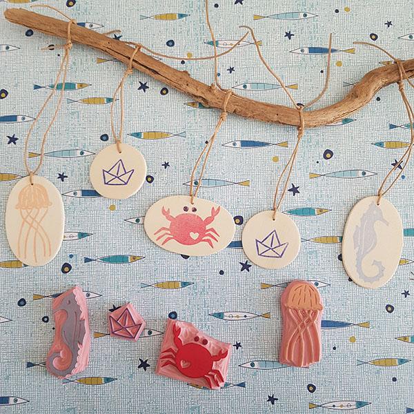 Graver des tampons thème mer et créer